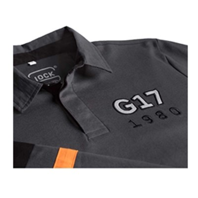 Tröja GLOCK Rugby Shirt, XL-men, grå/orange